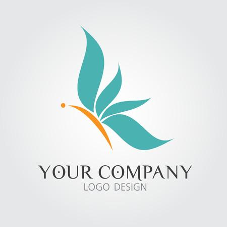 Blauwe oranje vlinder logo illustratie, pictogram, logo design, vintage pictogram