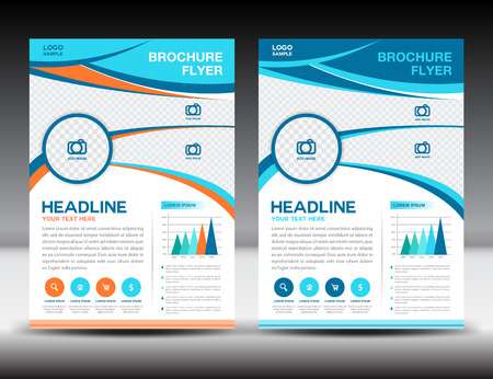 catalogs: Blue and orang brochure template,cover template,design,newsletter,Leaflet,presentation template,book cover,booklet,catalogs,Blue background,infographics Illustration