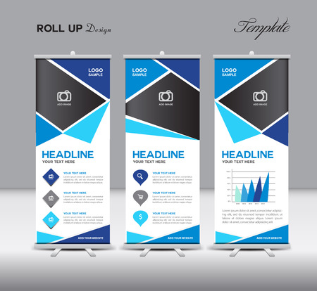 portfolio: Blue Roll Up Banner template illustration,banner design,stan-dy template,roll up display,advertisement, ,Blue background,business, education,polygon background,info graphics