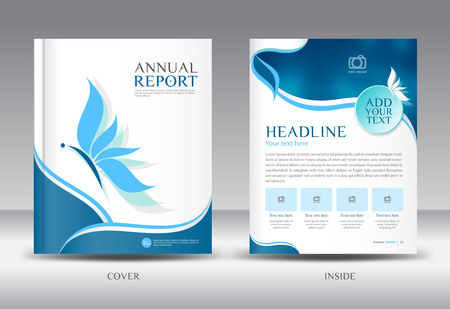 newspaper print: Blue Annual report template illustration,Brochure  template,cover design