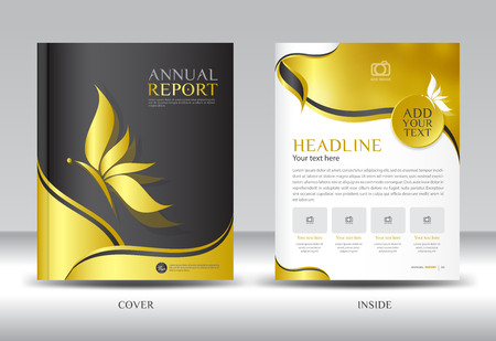 catalogs: Gold Annual report template illustration,Brochure  template,Gold cover design