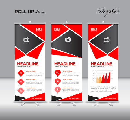 fl: Red Roll Up and info graphics template,design,stan-dy template, advertisement