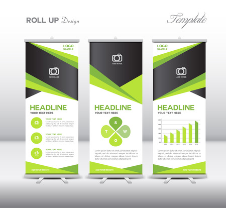 exhibition: Green Roll Up Banner template and info graphics, stand design,vector illustration