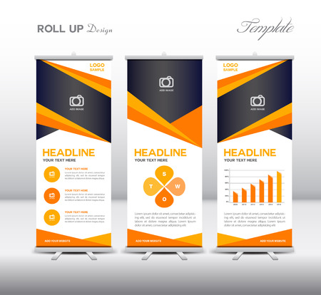 Orange Roll Up Banner template and info graphics elements, stand design, Banner template, advertisement Illustration