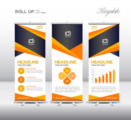 Oranje Roll Up Banner template en info grafische elementen, standontwerp, Banner sjabloon, reclame