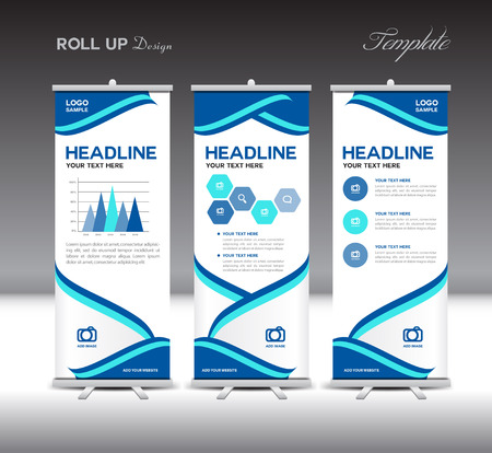 fl: Blue Roll Up Banner template and info graphics elements, stand design, vector illustration Illustration