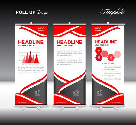 Red Roll Up Banner elementi del modello e informazioni grafiche, stand progettazione, illustrazione vettoriale