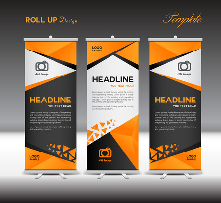Orange and black Roll Up Banner template, stand template,vector illustration,polygon background Imagens - 55951052