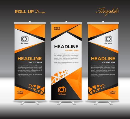 Oranje en zwarte Roll Up Banner sjabloon, standaard template, vector illustratie, veelhoek achtergrond