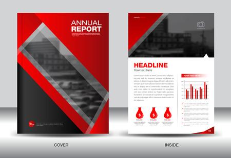 fl: Red Annual report template,cover design,brochure fl yer,info graphics elements, presentation,polygon background Illustration
