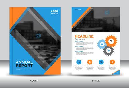 fl: Blue and Orange Annual report template,cover design,brochure fl yer,info graphics elements, presentation,polygon background