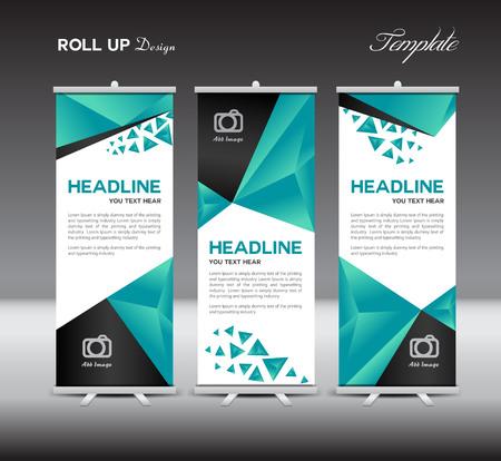 Green Roll Up Banner sjabloon, reclame, Roll up banner ontwerp, groene achtergrond, veelhoek achtergrond Stock Illustratie