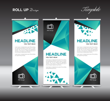 Green Roll Up Banner template,advertisement,Roll up banner design,green background, polygon background