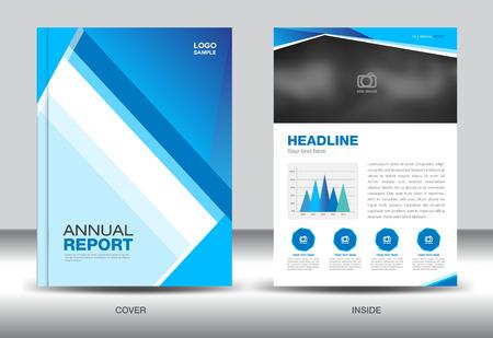 Blauw jaarverslag sjabloon, cover ontwerp, brochure vlieger, info grafische elementen, lay-out sjabloonontwerp Stock Illustratie