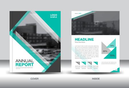 fl: Green Annual report template,green cover design,book cover, brochure fl yer,presentation,company profile