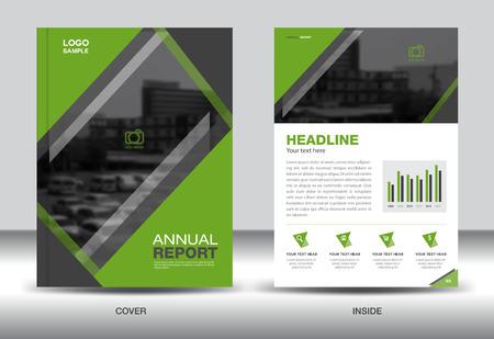 fl: Green Annual report template,cover design,brochure fl yer,info graphics elements, presentation,green background