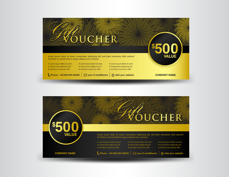 Gold And Black Gift Voucher Template, Coupon Design,ticket, Banner ...