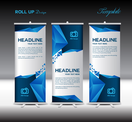 Blue Roll Up Banner modello illustrazione vettoriale, design banner, sfondo poligono, modello standy, roll up display Archivio Fotografico - 55812038