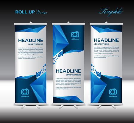Blue Roll Up Banner sjabloon vector illustratie, banner ontwerp, veelhoek achtergrond, standy template, roll up display Stock Illustratie