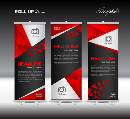 Red Roll Up Banner template vector illustration,banner design, polygon background,standy template,roll up display,presentation template