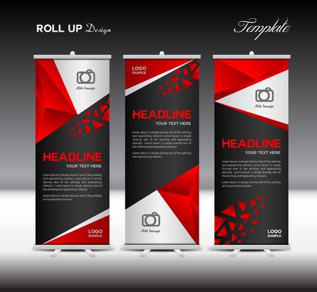 Red Roll Up Banner illustration template, banner design, poligono background, modello di standy, roll up display, modello di presentazione