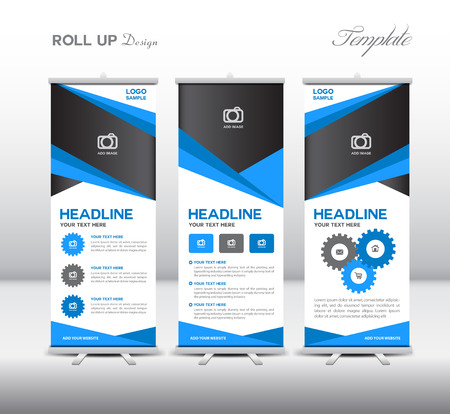 Rollo de bandera azul de la plantilla y la infografía, diseño de stands, plantilla de banner, ilustración