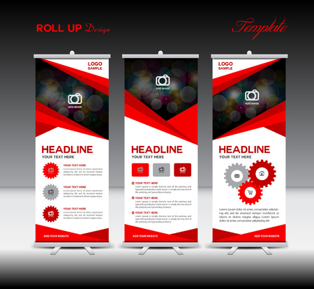 banner ad: Red Roll Up Banner template and info graphics, stand design,banner template, illustration