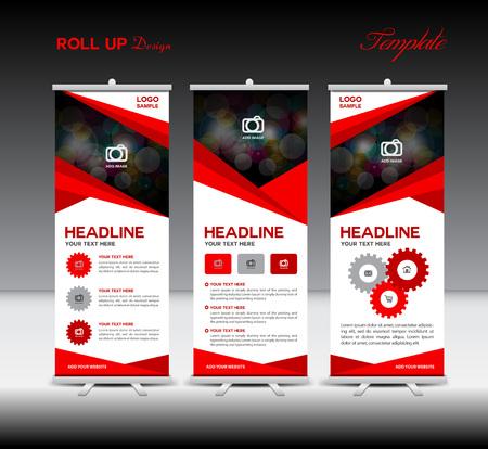Red Roll Up Banner template e informazioni grafiche, Progettazione Stand, modello della bandiera, illustrazione Vettoriali