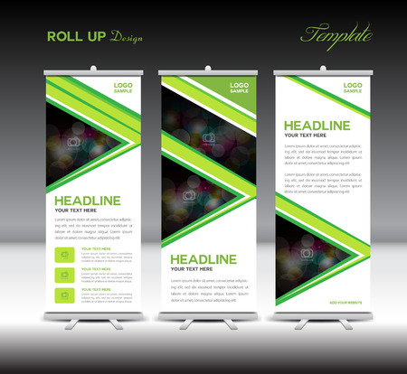 fl: Roll Up Banner template stand template advertisement layout design banner template green background Illustration
