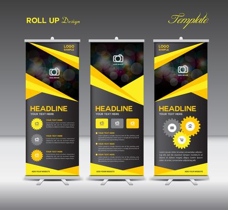Geel en zwart Roll-Up Banner sjabloon en info graphics, standontwerp, sjabloon voor spandoek, illustratie