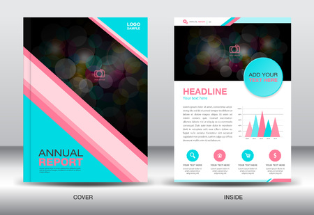 fl: Blue and pink Annual report template and info graphics elements,cover design,brochure f lyer,book,leaflet, template Illustration