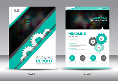 catalogs: Green Annual report template,brochure design,cover template,fl-yer design,polygon background,portfolio,Leaflet,presentation template,book cover,booklet,catalogs Illustration