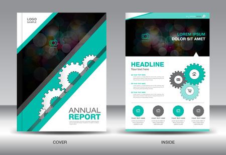 catalogs: Green Annual report template,brochure design,cover template,fl-yer design,polygon background,portfolio,Leaflet,presentation template,book cover,booklet,catalogs Illustration