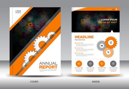 catalogs: Orange Annual report template,brochure design,cover template,fl-yer design,polygon background,portfolio,Leaflet,presentation template,book cover,booklet,catalogs Illustration