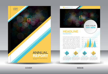 catalogs: Yellow and Blue Annual report template and info graphics elements,cover design,brochure ,book,leaflet,vector template