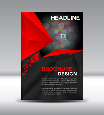 Red brochure and cover template polygon illustration, Cover design, magazine, template, leaflet design, presentation,Annual report,company profile, portfolio,booklet