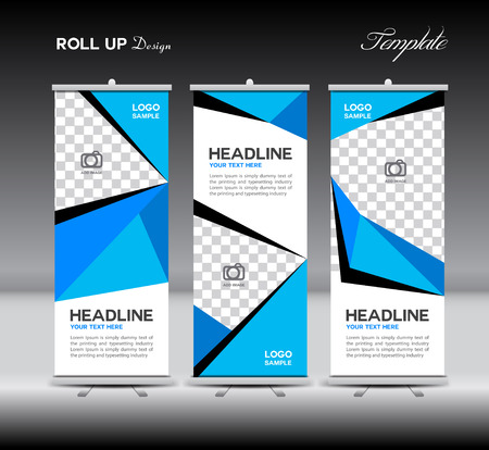 display: Blue Roll Up Banner template vector illustration,polygon background,banner design,standy template,roll up display,advertisement,Roll up banner stand design,Yellow background,flyer,company,j-flag Illustration