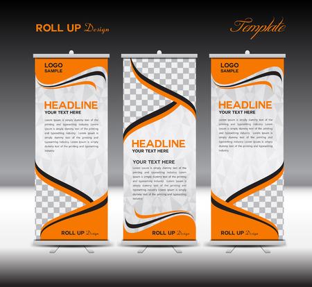 Orange Roll Up Banner template vector illustration,polygon background,banner design,standy template,roll up display,advertisement,Roll up banner stand design, orange background Vectores
