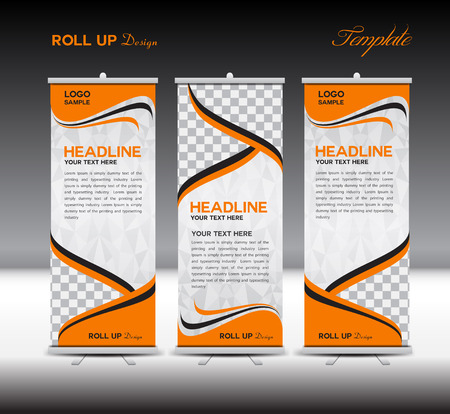 Orange Roll Up Banner template vector illustration,polygon background,banner design,standy template,roll up display,advertisement,Roll up banner stand design, orange background Illustration