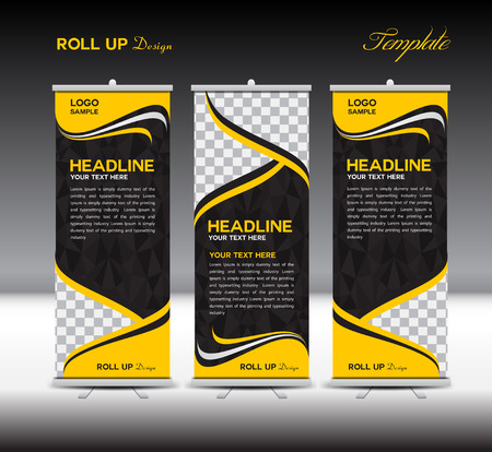 up: Yellow Roll Up Banner template vector illustration,polygon background,banner design,standy template,roll up display,advertisement,Roll up banner stand design, Pink background
