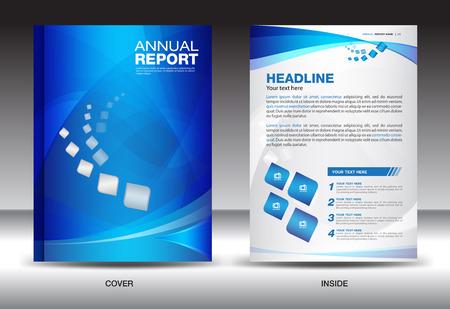Blau Jahresbericht Vorlage, Cover-Design, Broschüre Flyer, Infografiken Elemente, Prospekt, Broschüre, Plakat, Newsletter, Vektor
