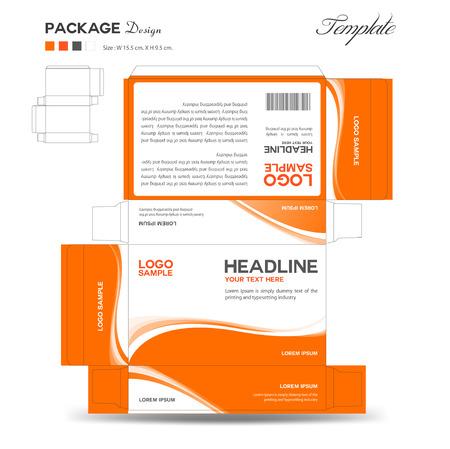 Los suplementos y diseño de la caja cosmética, diseño del paquete, plantilla, caja de contorno, tarjetas informativas, ilustración vectorial