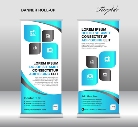 Roll up banner stand template, stand design,banner template,Blue banner, advertisement,flyer design,vector illustration Illustration