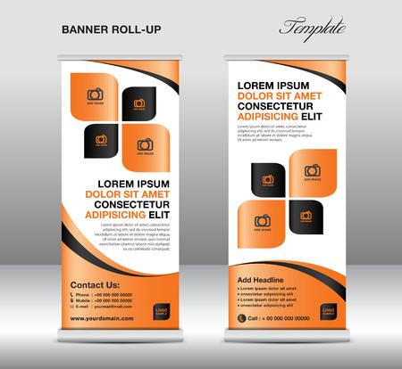 newspaper roll: Roll up banner stand template, stand design,banner template,Orange banner, advertisement,flyer design,vector illustration Illustration