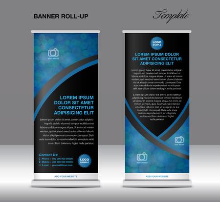 Blauwe en zwarte banner staan sjabloon, standontwerp, banner sjabloon, blauw en zwart banner, flyer sjabloon, reclame, Poster, lay-out template
