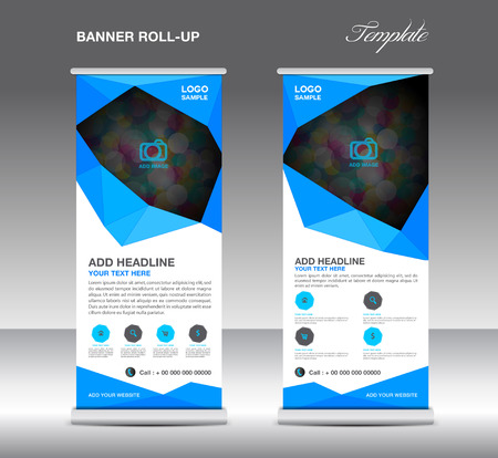 graphic display cards: Blue Roll up banner stand template, stand design,banner template,layout template