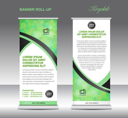 Green banner staan sjabloon, standontwerp, banner sjabloon, groene banner, flyer ontwerp Stock Illustratie
