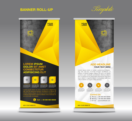 Yellow Roll up banner stand template, stand design,banner template, polygon background Illustration