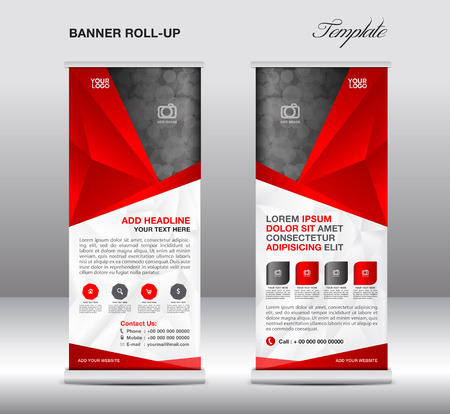 newspaper roll: Red Roll up banner stand template, stand design,banner template, polygon background