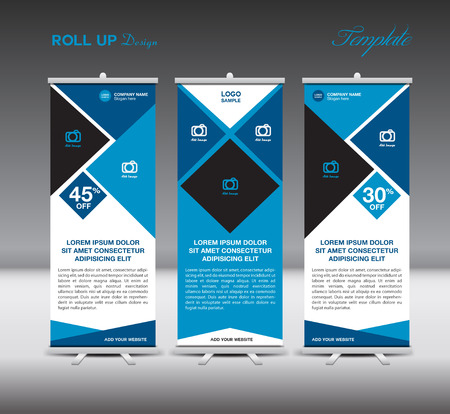 newspaper roll: Blue Roll Up template display advertisement design illustration
